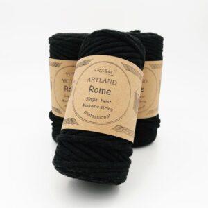 חוט מקרמה סינגל טוויסט - 5 ממ - רומא שחור
