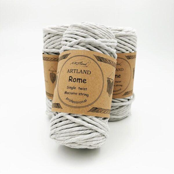 חוט מקרמה סינגל טוויסט - 5 ממ - רומא אפור בהיר