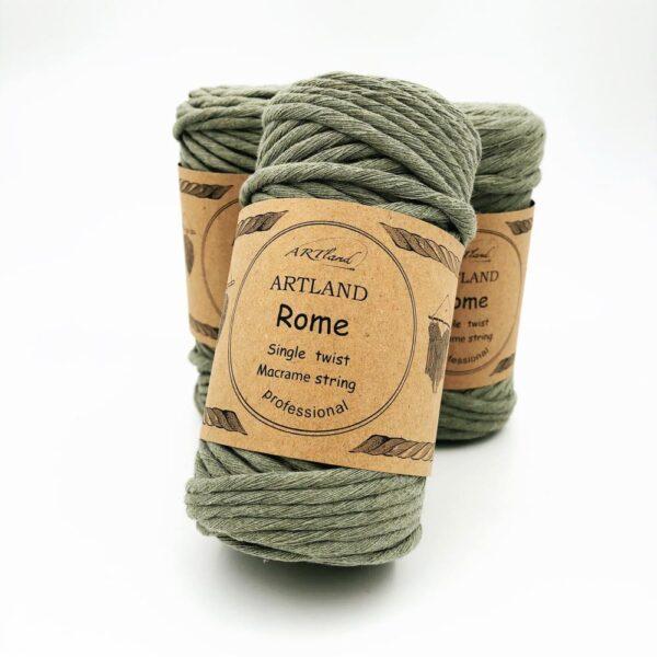 חוט מקרמה סינגל טוויסט - 5 ממ - רומא ירוק זית