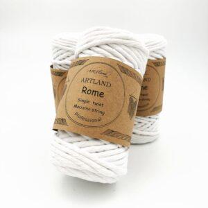 חוט מקרמה סינגל טוויסט - 5 ממ - רומא לבן