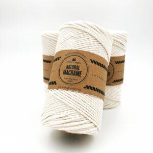 חוט מקרמה שזור - 2 ממ - נטורל שמנת אווף וויט