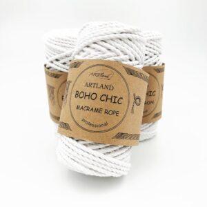 חוט מקרמה שזור - 4 ממ - בוהושיק לבן