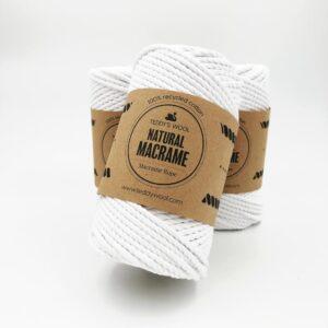 חוט מקרמה שזור - 4 ממ - נטורל לבן