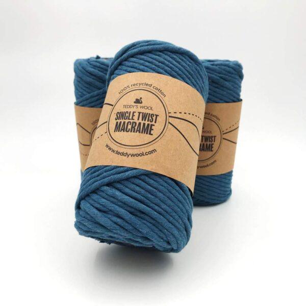 חוט מקרמה סינגל טוויסט 5 ממ - כחול אפרפר