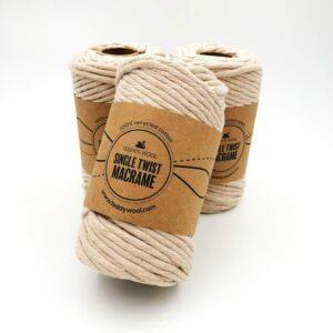 חוט מקרמה סינגל טוויסט - 5 ממ - חול