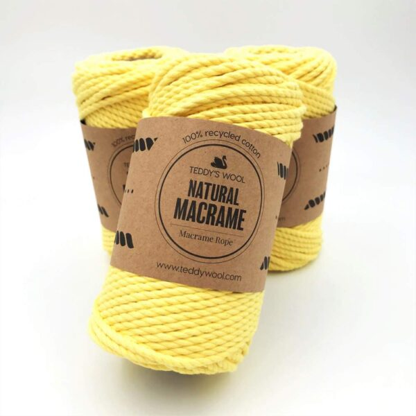 חוט מקרמה שזור - 4 ממ - נטורל צהוב לימון